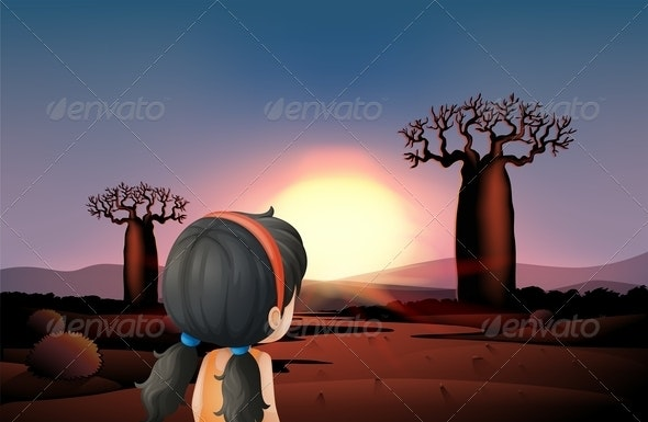 Young Girl Watching the Sunset at the Desert - People Characters