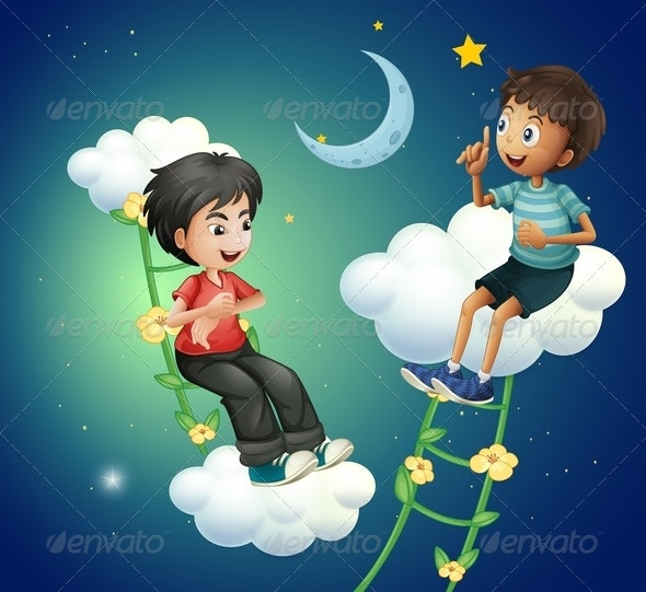 Two Boys Talking Near the Moon - People Characters