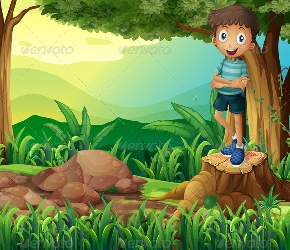 Smiling Boy on a Stump of a Tree - People Characters