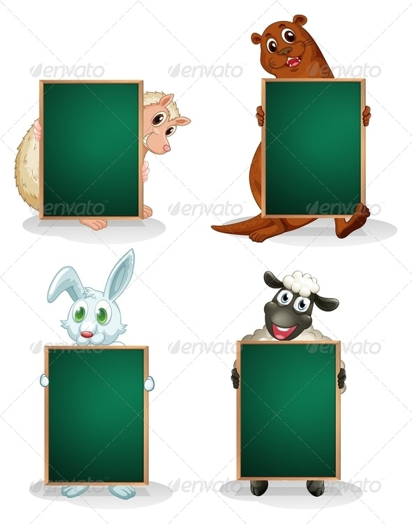 Blackboards in Front of the Animals - Borders Decorative