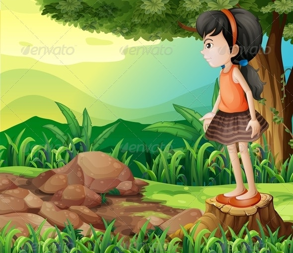 Little Girl Standing on a Stump - People Characters