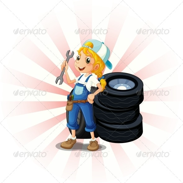 Female Mechanic in Front of Tires - People Characters