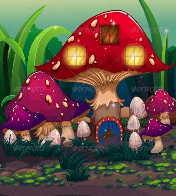 Mushroom House Background - Buildings Objects
