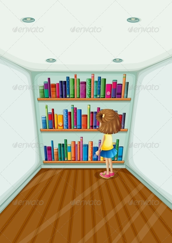 Girl in front of Bookshelves - People Characters