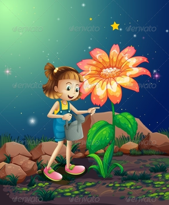 Girl watering Giant Flower - People Characters