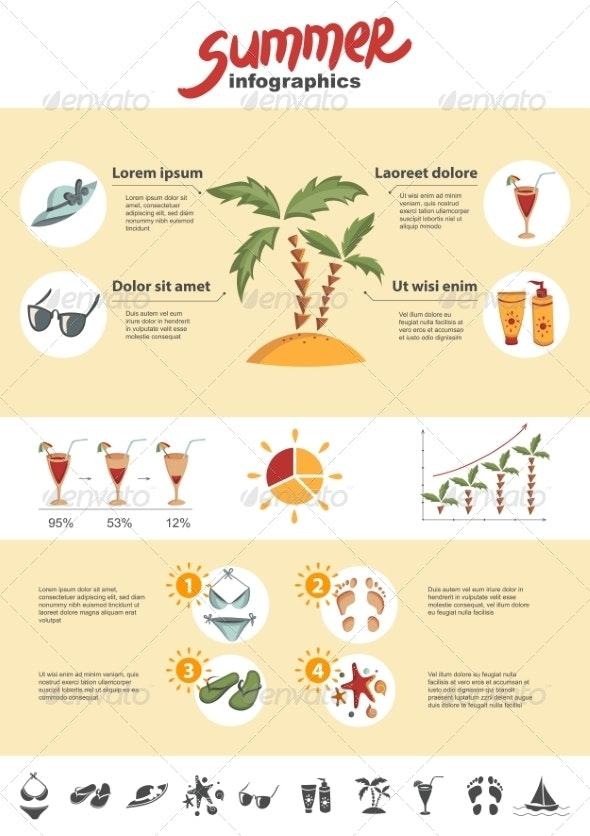 Summer Infographics Elements - Seasons Nature