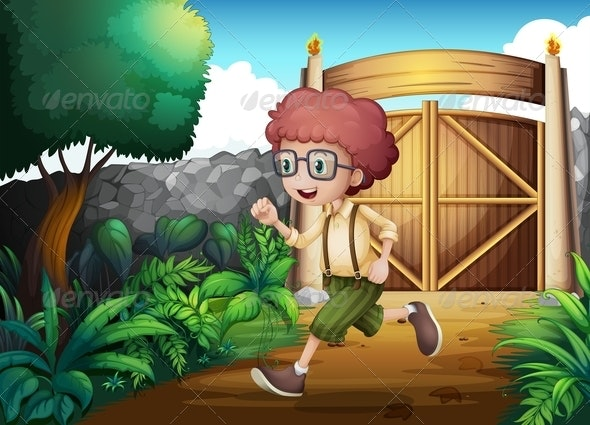 A Young Boy Running Inside the Gate - People Characters