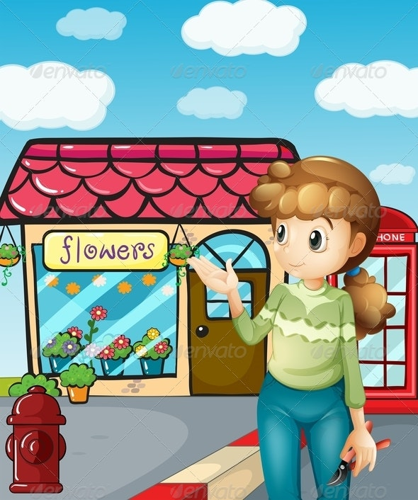 A Girl Presenting the Flower Shop - People Characters