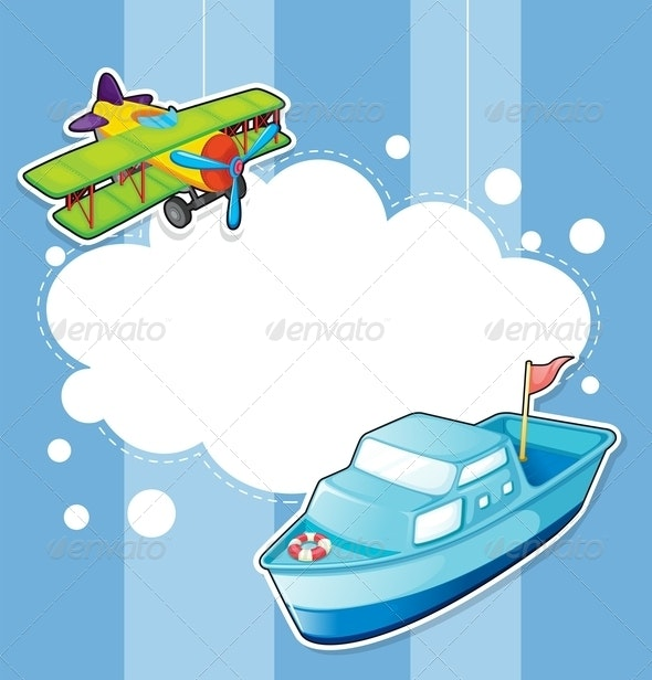 A Stationery with a Ship and a Boat - Borders Decorative