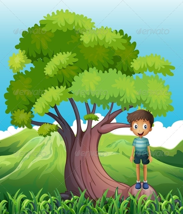 Boy Standing on a Root of a Tree - People Characters