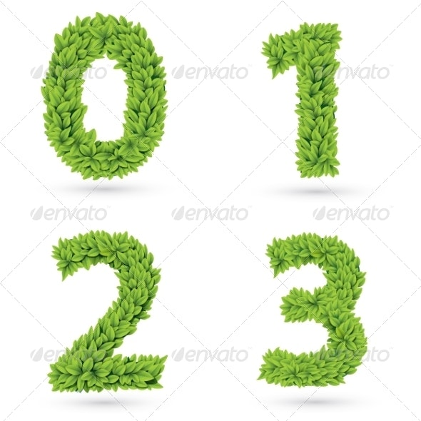 Numbers of Green Leaves Collection. - Decorative Symbols Decorative