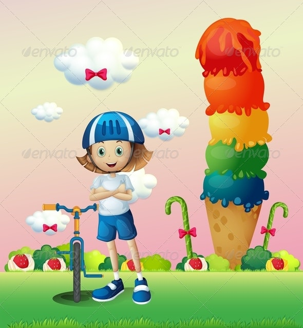 A Girl and her Bike in the Candyland - People Characters