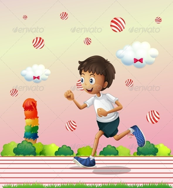 A Boy Jogging at the Candyland - Sports/Activity Conceptual