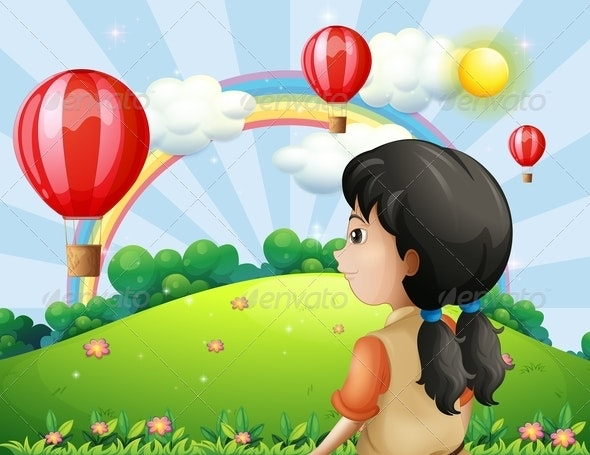 A Girl Looking at the Hot Air Balloons - People Characters