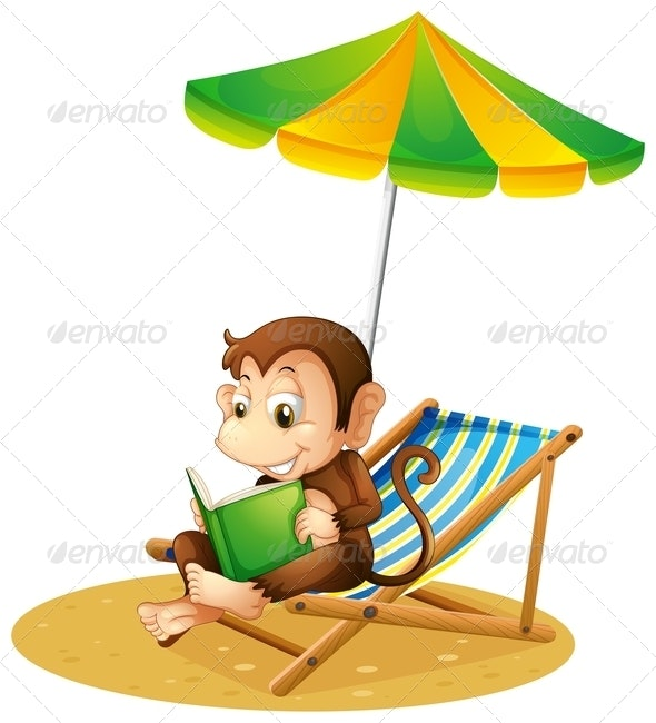 A Monkey Reading a Book at the Beach - Animals Characters