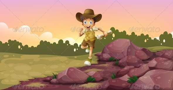 Boy Running Holding a Map - People Characters