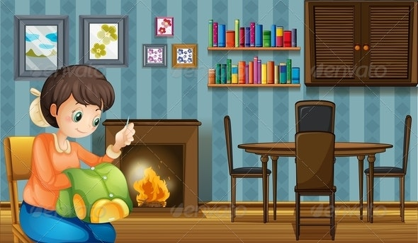 A Mother Sewing near the Fireplace - People Characters