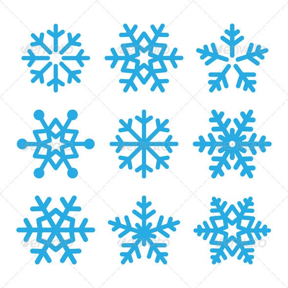 Snowflakes Blue Vector Icons Set  - Christmas Seasons/Holidays