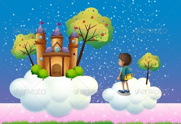 Boy before Castle in Clouds - People Characters