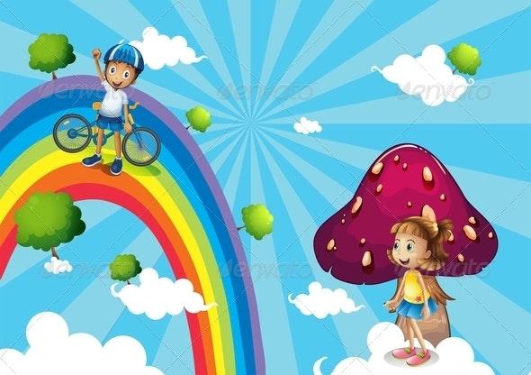 Boy Biking in the Rainbows - People Characters