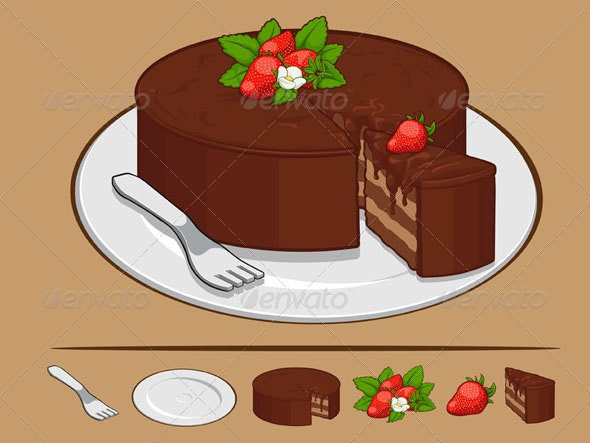 Chocolate Cake with Strawberry on Plate - Food Objects