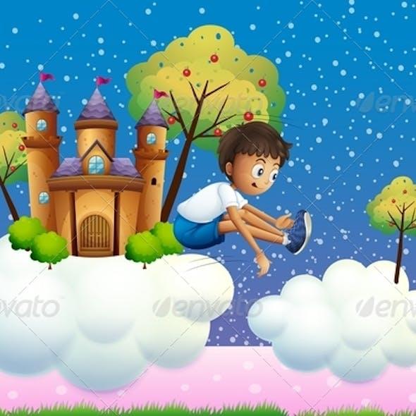Boy Jumping near Castle