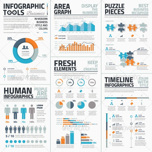 Large collection of Infographic Vector Templates - Infographics