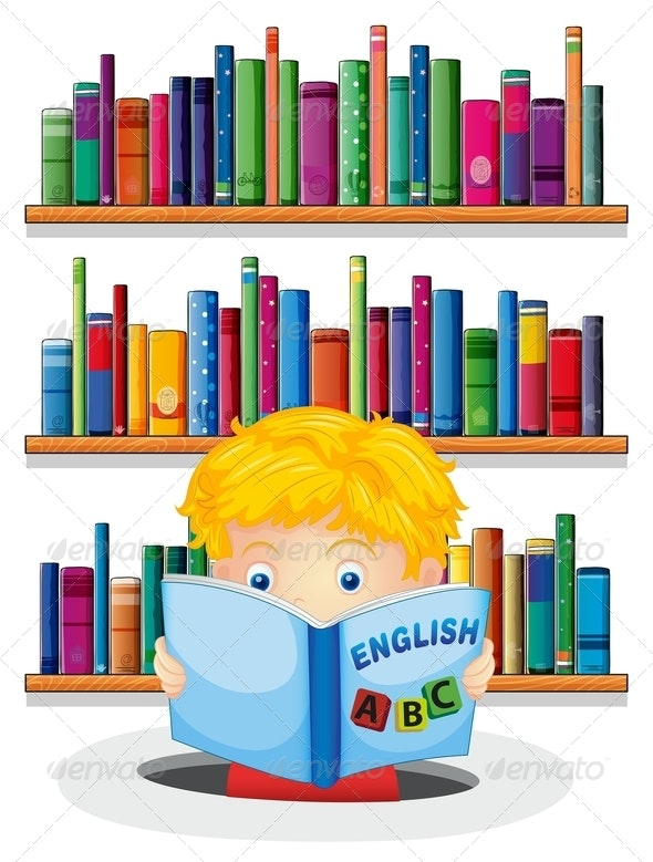 A Boy in the Library Reading an Book - People Characters