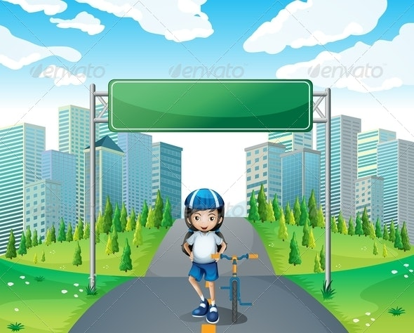 A Girl Standing Below the Empty Signboard - People Characters