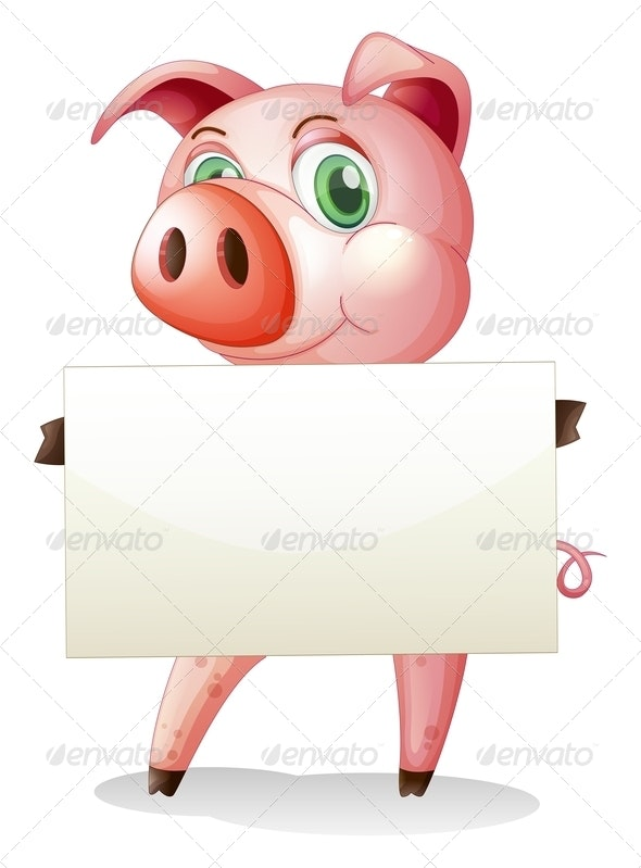 A Fat Pig Holding an Empty Signboard - Borders Decorative