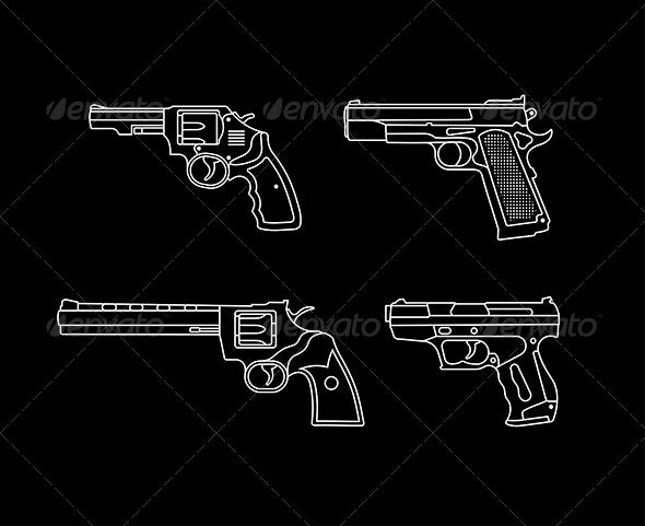 Handguns Vector Silhouettes  - Man-made Objects Objects