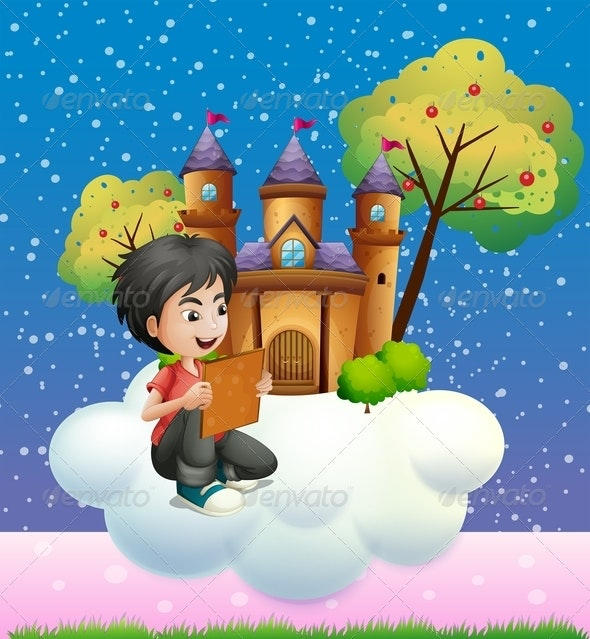 Boy reading by Castle - People Characters