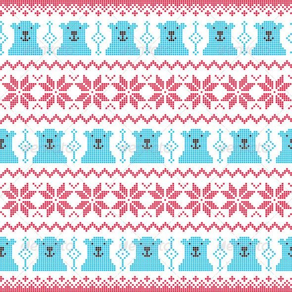 Christmas Bear and Snowflake Seamless Pattern  - Patterns Decorative