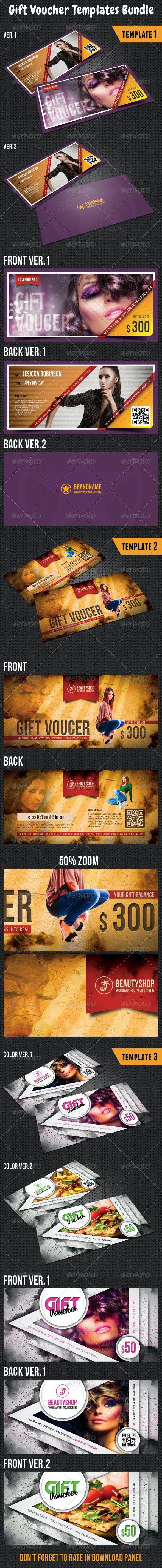 Gift Voucher Templates Bundle 01 - Cards & Invites Print Templates
