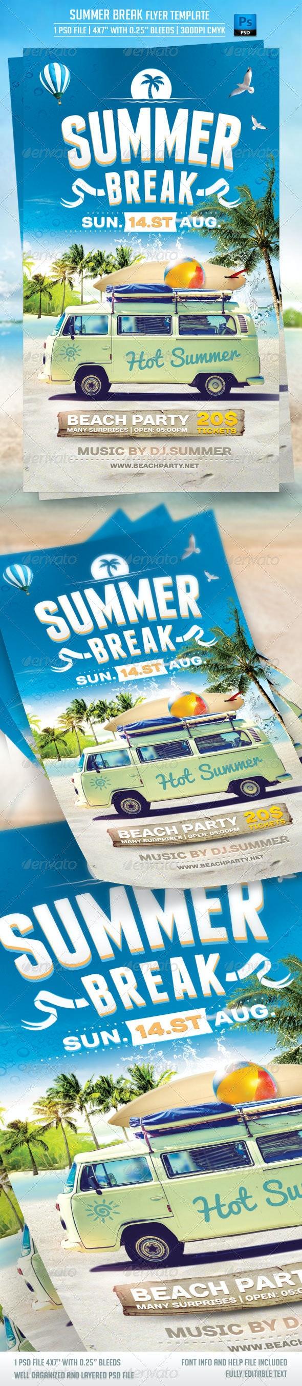 Summer Break Flyer Template - Print Templates