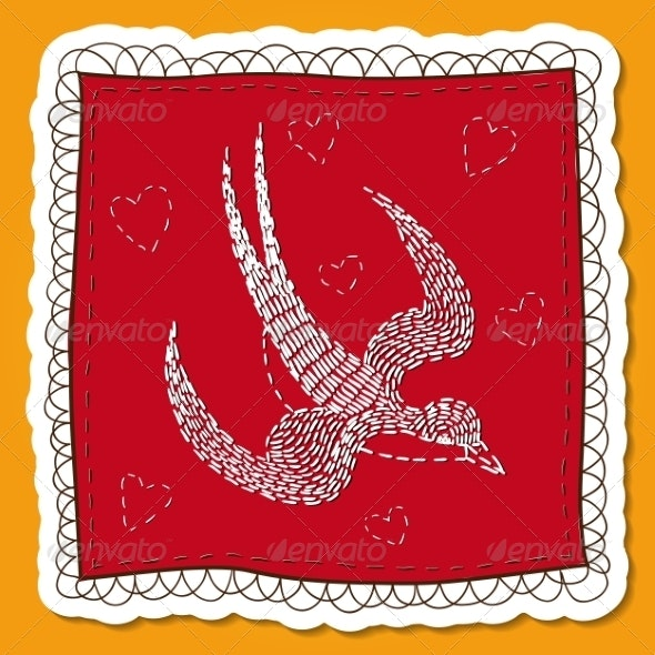 Handkerchief with Swallow Embroidery. - Miscellaneous Seasons/Holidays