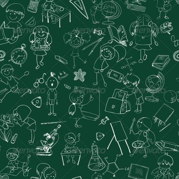 School Kids Doodle Sketch Pattern