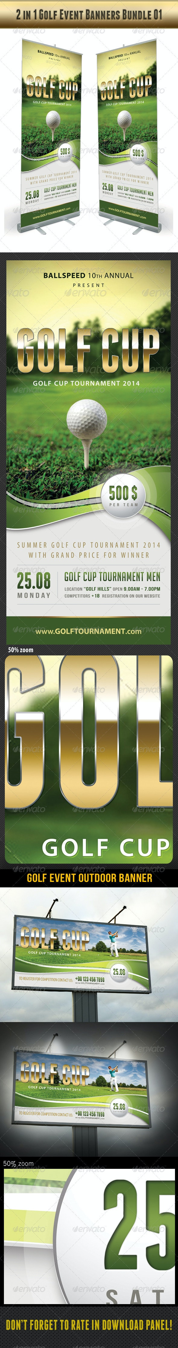 2 in 1 Golf Event Banners Bundle 01 - Signage Print Templates