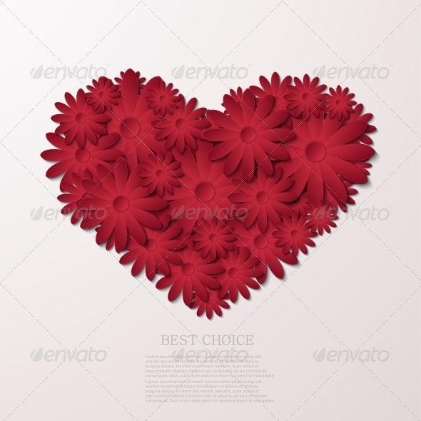 Flower Heart Background - Valentines Seasons/Holidays