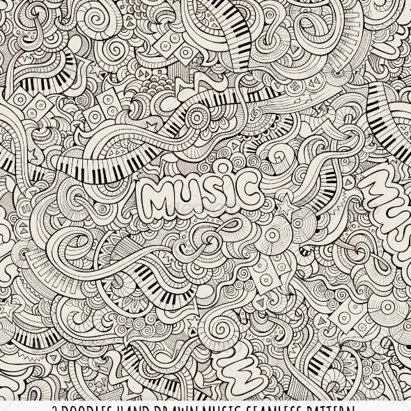2 Doodles Music Seamless Pattern