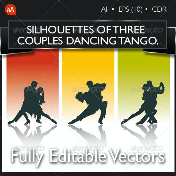 Silhouette of Couples Dancing Tango