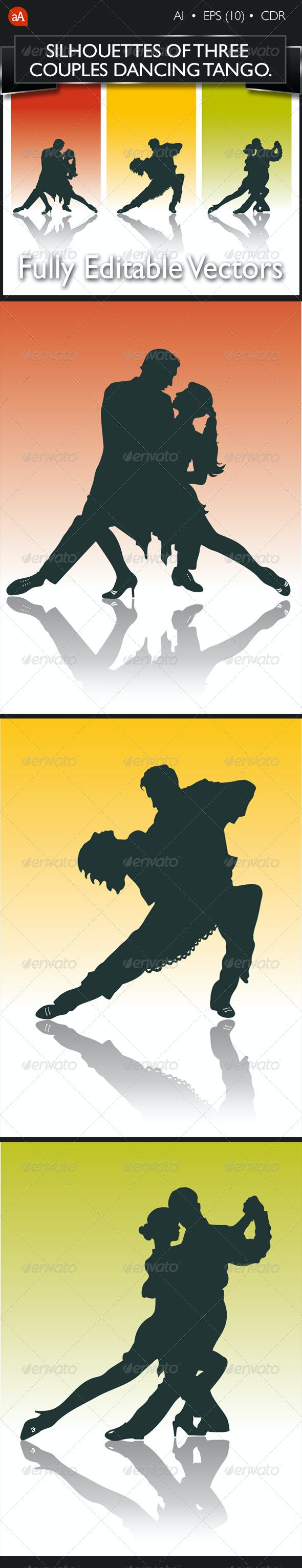 Silhouette of Couples Dancing Tango - People Characters