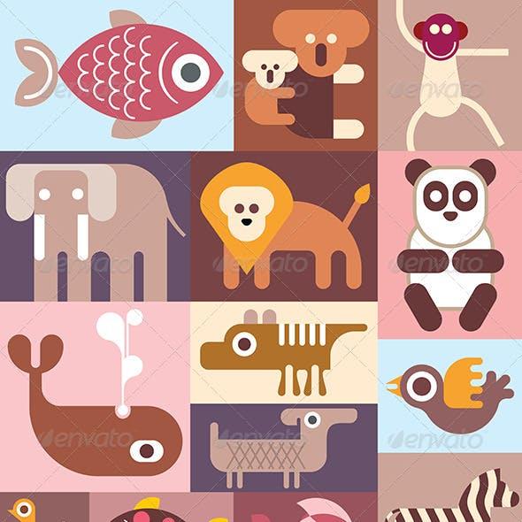 Zoo Animals Collage