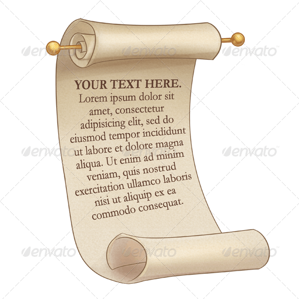 Scroll with Editable Text - Objects Illustrations
