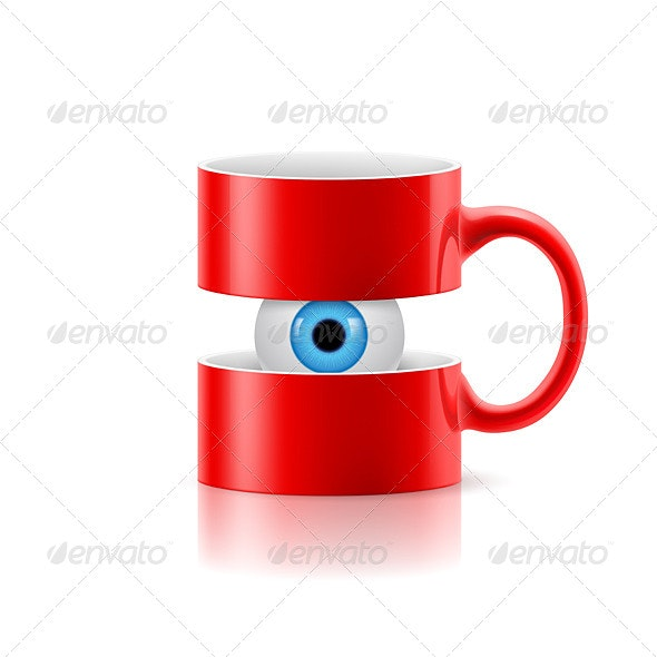 Red Mug of Two Parts with an Eye Inside - Patterns Decorative