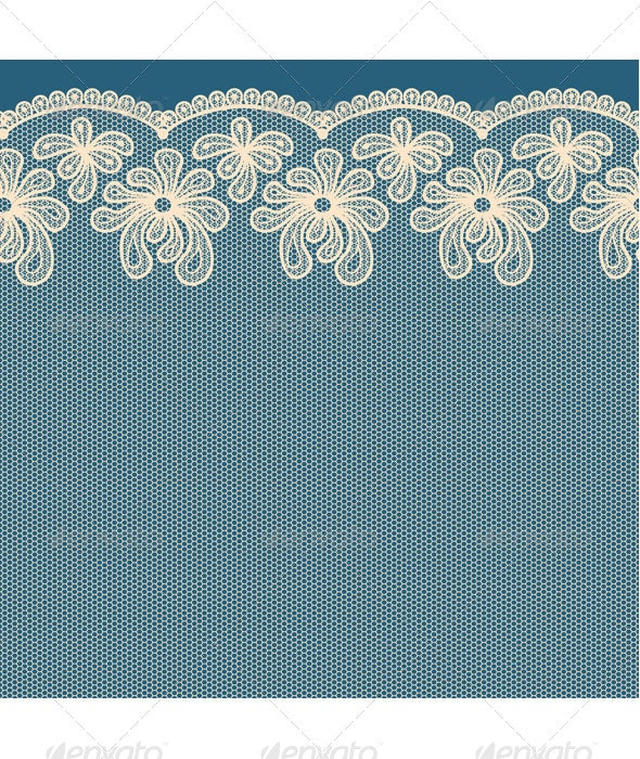 Beige Seamless Flower Lace Border  - Backgrounds Decorative