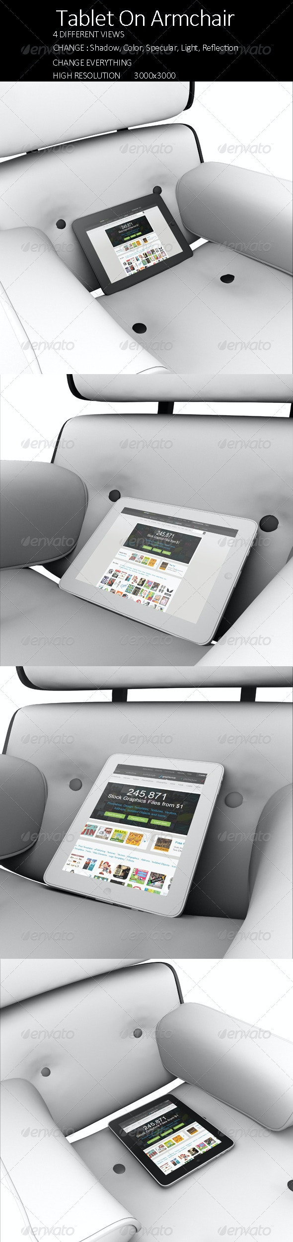 Tablet on Armchair - Product Mock-Ups Graphics