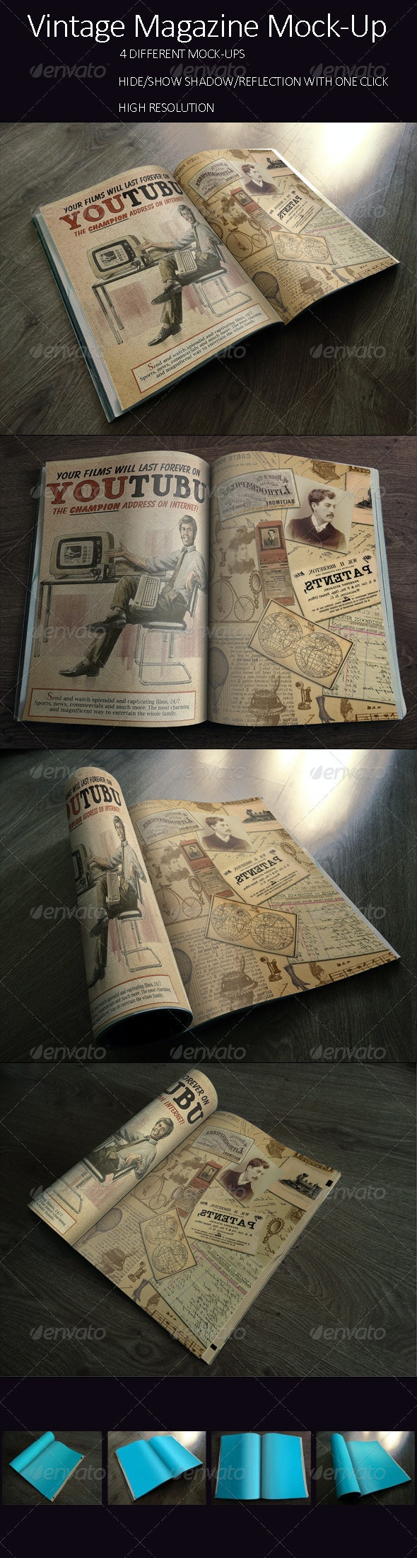 Photorealistic Vintage Brochure/Magazine Mock-up - Books Print