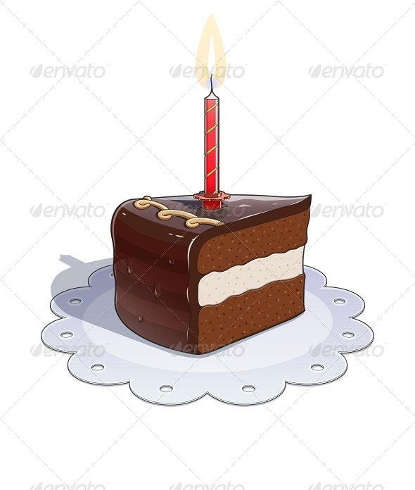 Piece of Chocolate Cake with Candle - Miscellaneous Vectors