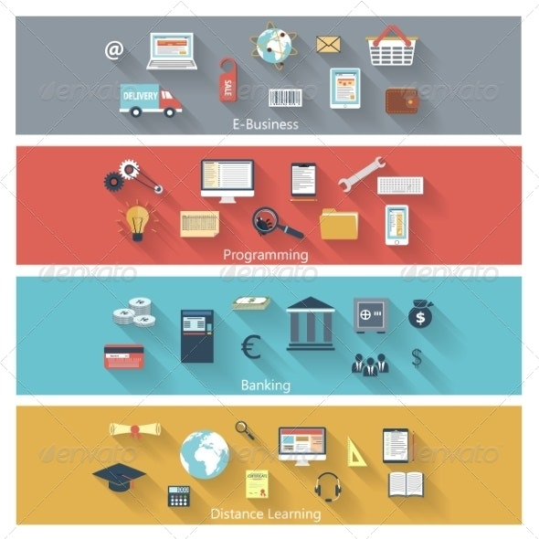Set of Modern Concepts in Flat Design - Web Icons